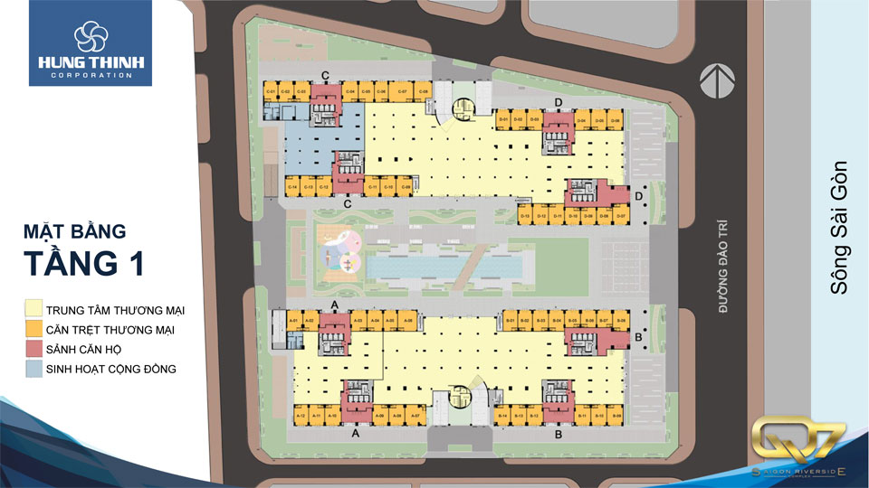 Mặt bằng tầng 1 căn hộ q7 saigon riverside